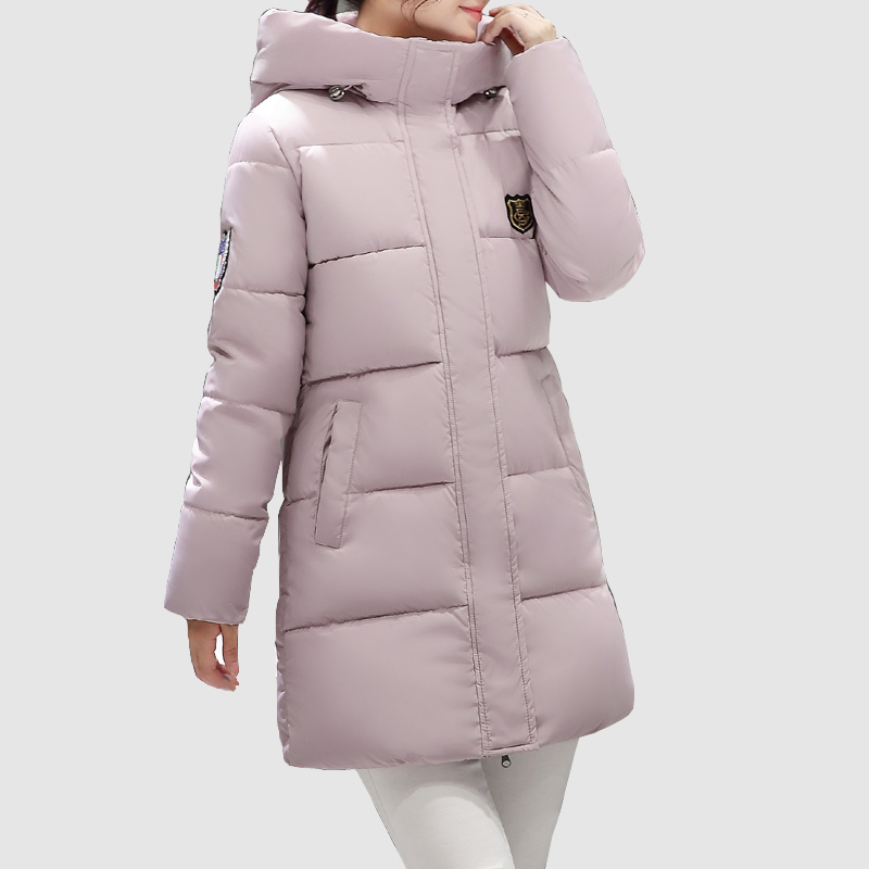 SWENEARO 2017 New Winter Collection Women Hooded warm cotton Coat fashion Badge design Medium-Long High Quality Ladies clothing swenearo 2017 new women thick warm coat hooded high quality cotton padded winter jacket women ladies coats winter collection