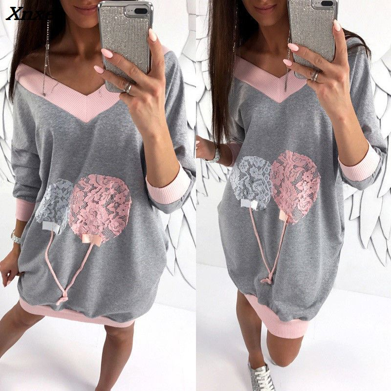 New Arrival Stylish Autumn Fashion V Neck Women Casual Dress Long Sleeve Cute Dresses Tops Mini Short Dress Sundress Clothes in Dresses from Women 39 s Clothing