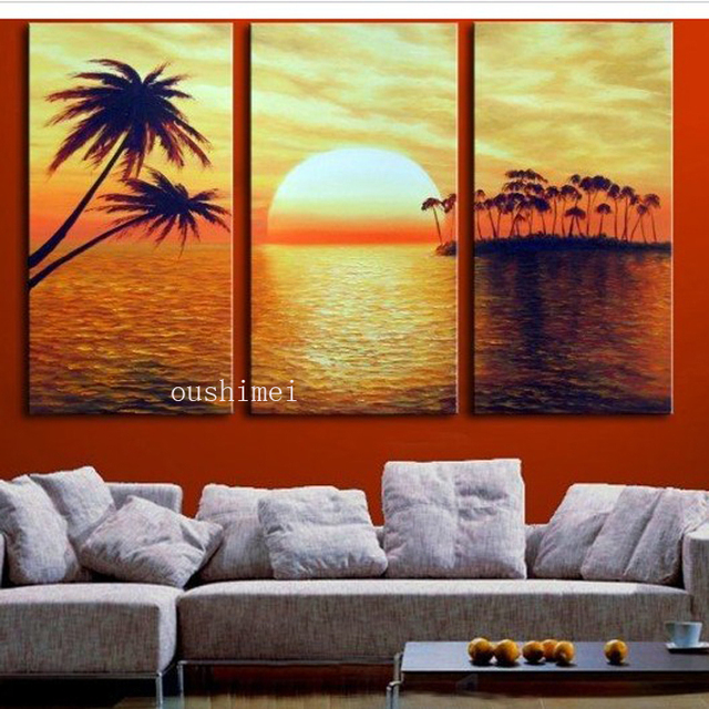 Handpainting Modern Abstract Landscape Sunset Picture Canvas Art Painting Seascape Coconut Tree