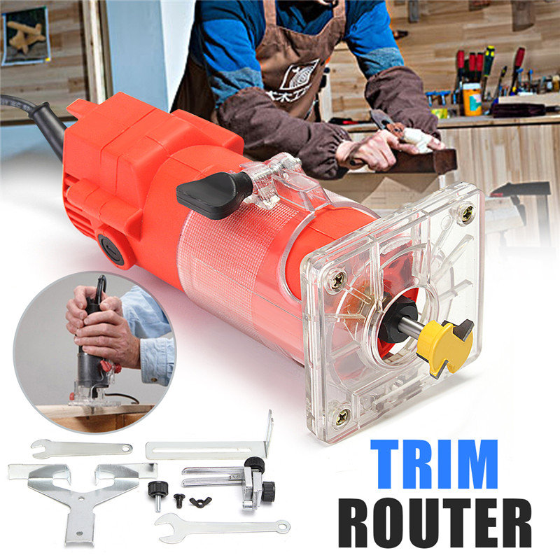 6mm 220V 300W Electric Wood Power Trim Router 30000RPM 1/4 Bit Woodworking Edge Banding Molding Machine Power Tool Red 3 3 300 30000