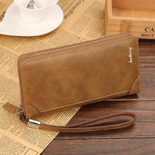 Herrenmode Leder Reißverschluss Handtasche Kreditkarteninhaber Geldbörse Hohe Kapazität Kupplung Handgelenk Handtasche Scheckheft