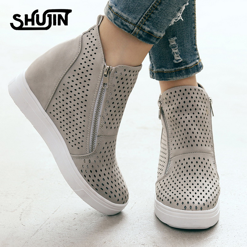 Sneakers Wedge Platform Flat-Shoes Spring High-Tops Female Women Autumn Casual PU Lady title=