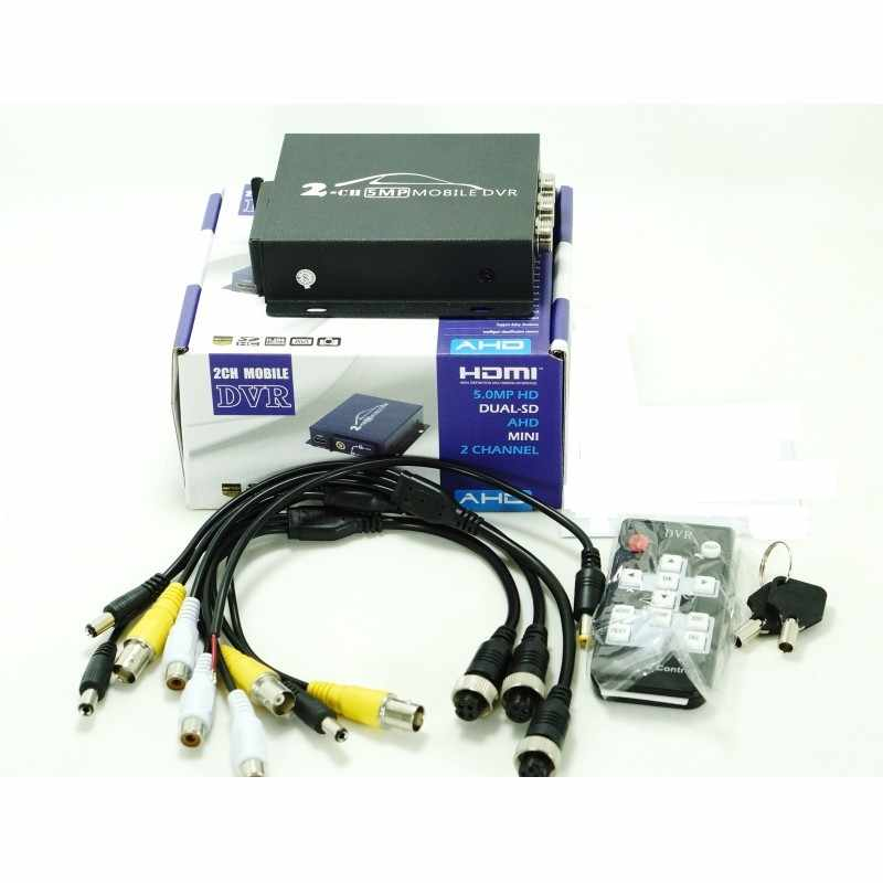 Оптовая продажа 2ch Компактный переносной цифровой для автомобиля автобус, транспортное средство 1080 P HD AHD DVR в реальном времени 2 канала dual-SD DVR с дистанционным управлением