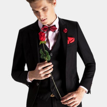 customized made males's go well with style domesticate one's morality groom go well with lapel males wedding ceremony fits groomsman fits(jacket+vest+pants)