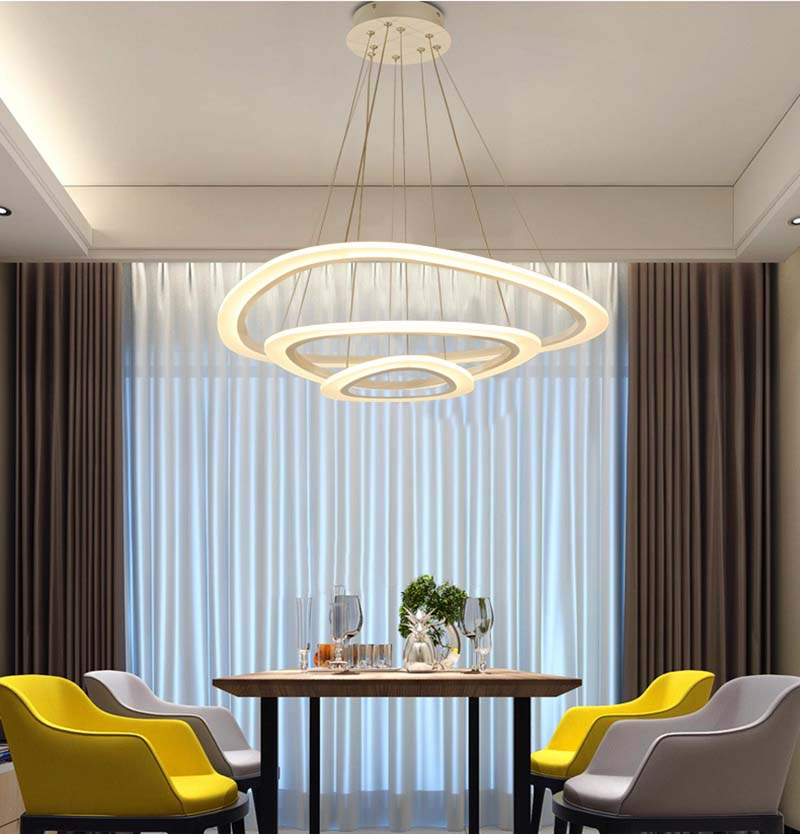 Modern Pendant Lights For Living Room Dining Room Circle Rings 3 Rings 4 Rings Acrylic Aluminum Body LED Ceiling Lamp Fixtures in Pendant Lights from Lights Lighting