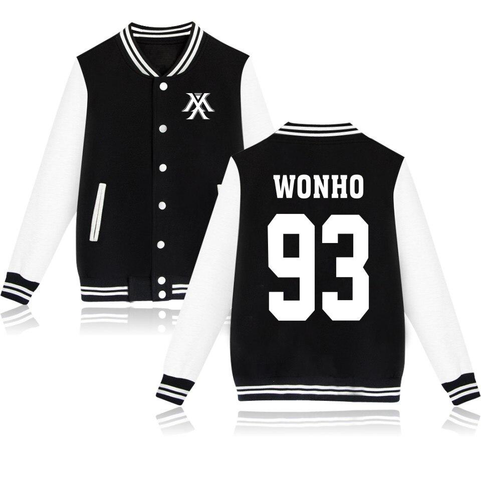 2017 Youpop KPOP Korean Fashion Baseball Jacket Monsta X Sweatshirt Kpop Hoodie Clothing I.M JOOHEON MINHYUK SHOWNU