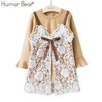 Humor Bear Children Clothes Autumn Girls Dress Baby Girl Princess Dress White Condole Belt Lace Party