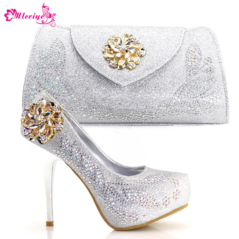 New Arrival Ladies Italian Shoes and Bag Set Decorated with Rhinestone Nigerian Women Wedding Shoes and Bag Set Woman Shoes Bag цена