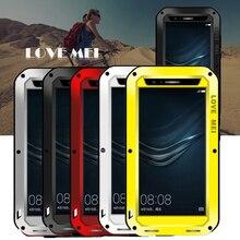 Любовь Мэй случае huawei p9 водонепроницаемый Противоударный металлический крышка случая huawei p9 Закаленное Стекло телефон дело