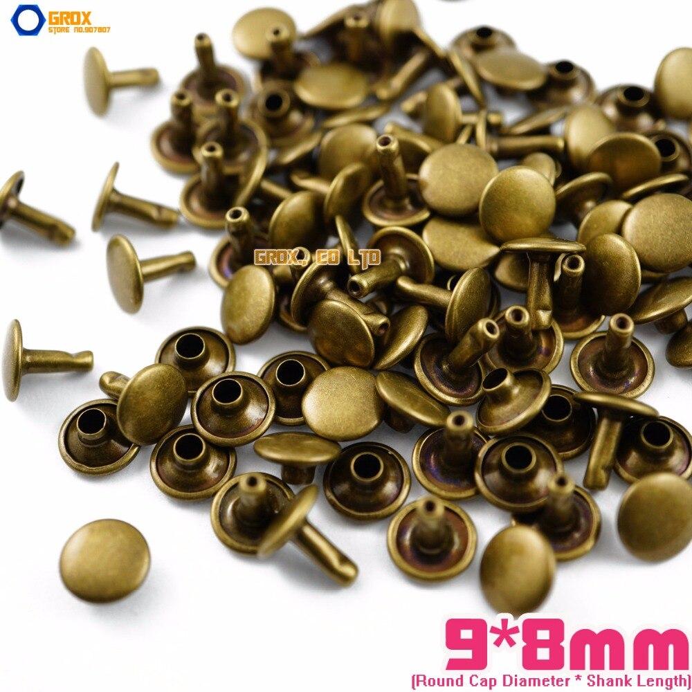500 set 9*8mm Antique Brass Double Cap Round Rapid Rivet Punk Rock Leathercraft Rivet