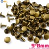500 set 9*8mm Antique Brass Double Cap Round Rapid Rivet Punk Rock Leathercraft Rivet