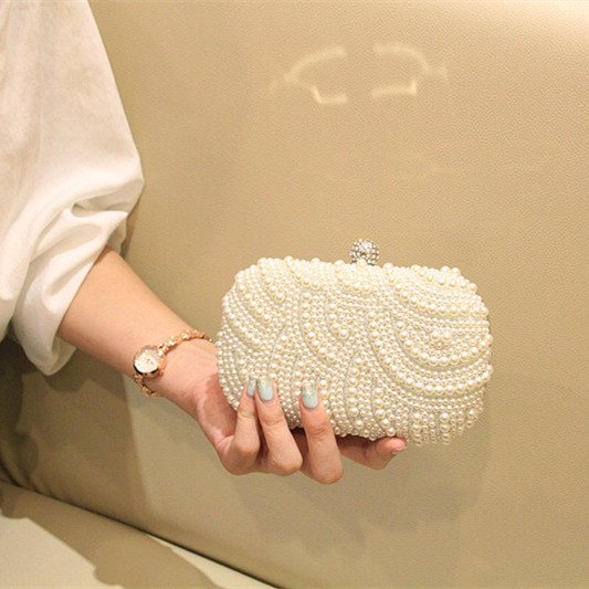 2017 Luxury Two Sided Handmade Pearl Bag Day Clutch Messenger Bag Wedding Party Married Clutch Women's Handbag Chain Bag