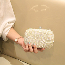 2017 luxus Zwei Seitig Handmade Perle Tasche Tag Kupplung Umhängetasche Hochzeit Verheiratet Kupplung frauen Handtasche Kette Tasche