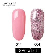 Maphie 2Pcs/Lot UV Nail Gel Polish Set DIY Glitter Salon Lacquer Enamel Semi Permanent Pink Led Kits
