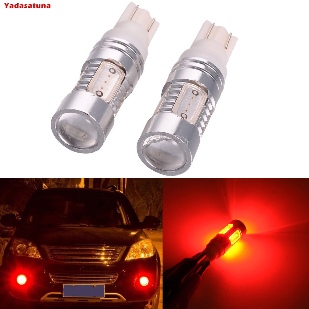 2x T10 7.5W CREE Cob Chips LED Super Bright Red Fog Tail Turn DRL Head Car Light Bulb