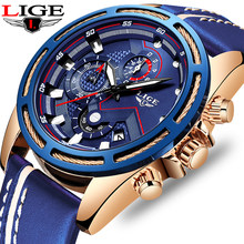 Relogio Masculino 2019 New LIGE Design Fashion Brand Watches Mens Leather Sport Date Chronograph Quartz Watch Male Gifts Clock(China)