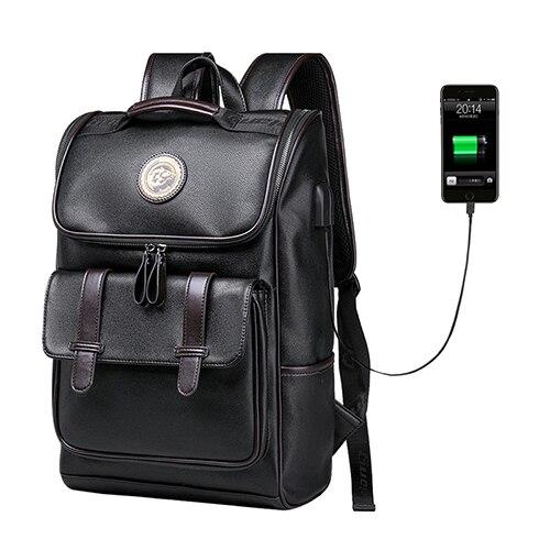 JIULIN sac à dos en cuir hommes ordinateur portable voyage sac à dos 15 pouces étanche sac à dos pour ordinateur portable USB collège Bookbag hommes mochila hombre