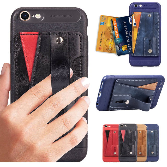 timeless design a1841 10e57 US $4.99 |Fashion Finger Loop Strap Case For iphone X 8 7 6 6S Plus XR XS  Max Kickstand Card Slots Cover Retro Business Slim Phone Case-in Fitted ...