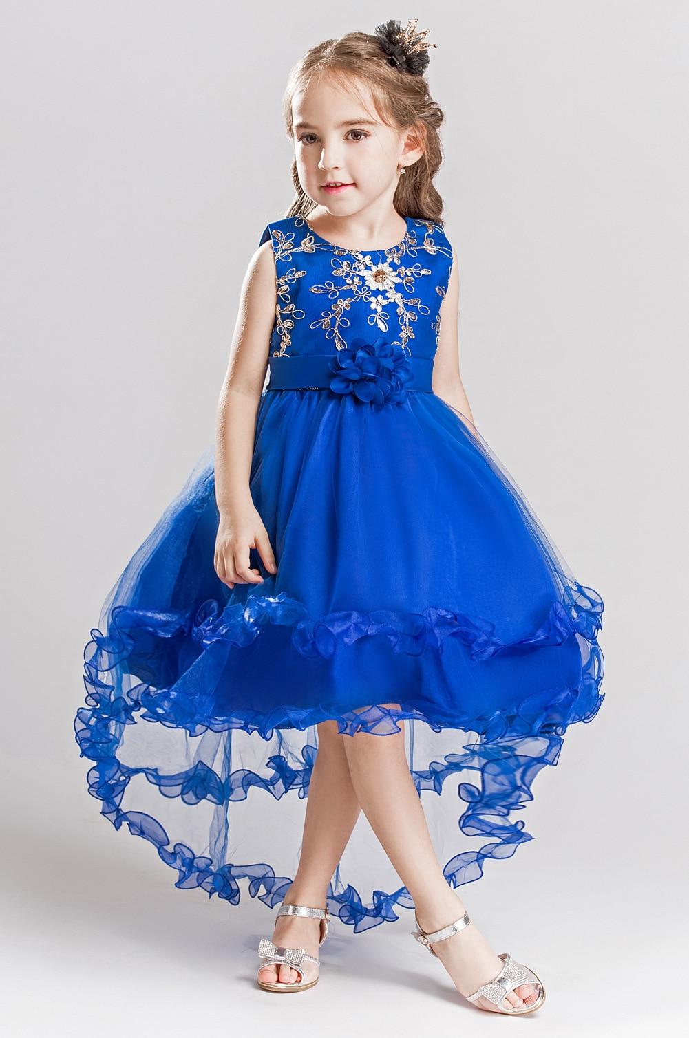 European Children Party Clothing Sleeveless Asymmetrical -9498