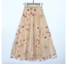 Chic womens mesh skirts Fashion embroidered moon and stars sequins skirt A183
