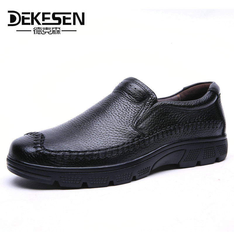DEKESEN Genuine Leather Men Shoes, Soft Moccasins Flats shoes for Men Slip On Loafers New Casual Shoes Mens Business Shoes 37-50 british slip on men loafers genuine leather men shoes luxury brand soft boat driving shoes comfortable men flats moccasins 2a