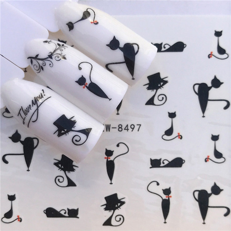 Nail Art Sticker Water Decals Lovely Cat Nails Slider Tape Decorations Accessoires Manicure Foil Adhesive Wraps Polish Tattoo