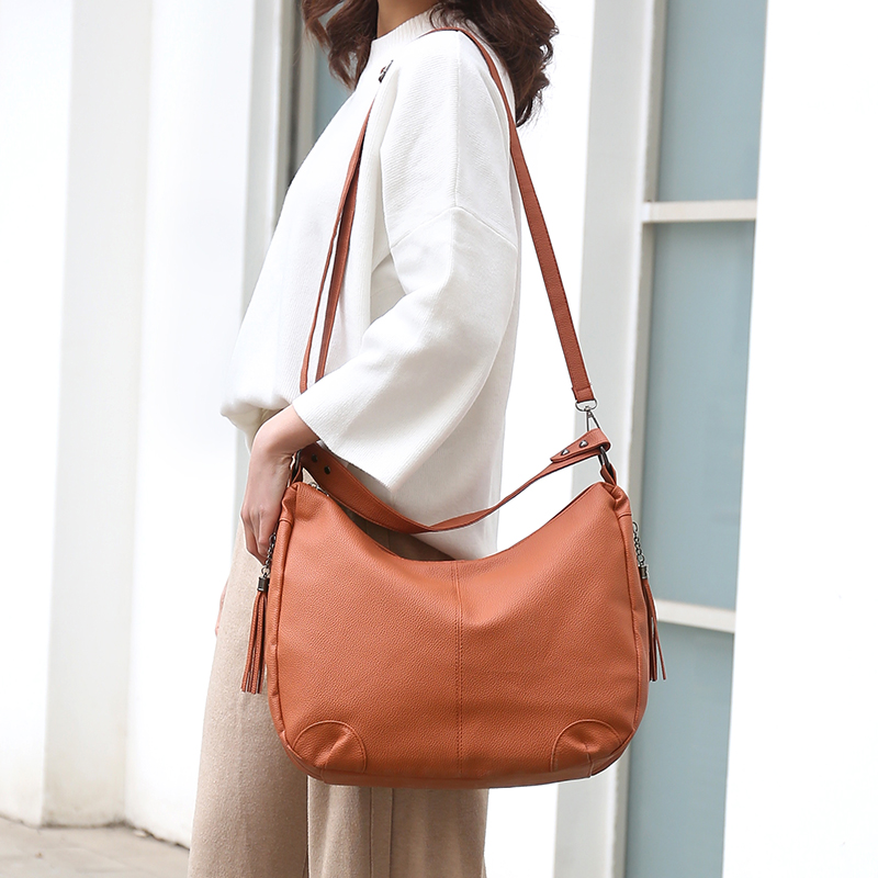 Casual Soft Leather Ladies Hand Bags Luxury Brand Women Handbags Large Female Shoulder Bags Hobos Crossbody Bags for Women 2019 in Top Handle Bags from Luggage Bags