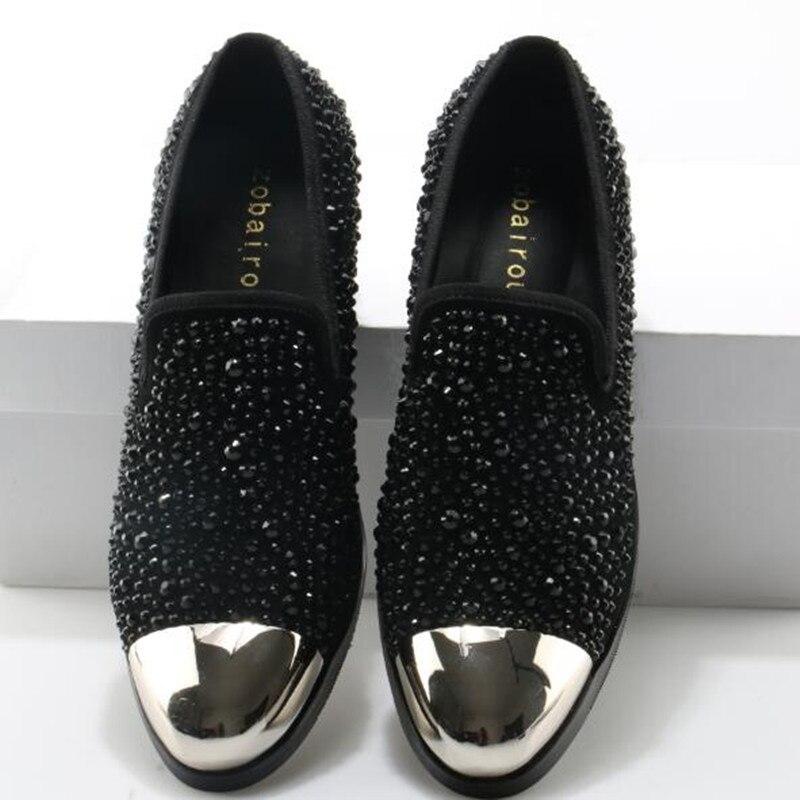 Escondidos Sapatos Mocassins as Picture Cystal Cravado Social Zobairou Para Zapatos Salto Os Formais Hombre Genuíno De Picture Do Couro Homens Sapato As Baile 7qnBB1AEt