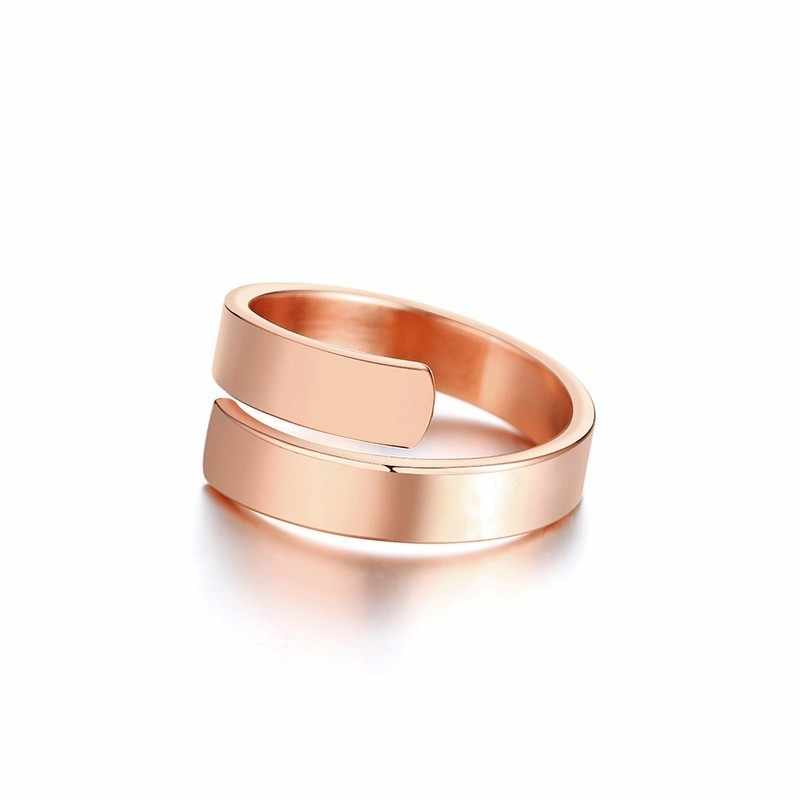 585 кольцо из розового золота, индивидуальные инициалы, символ сердца, Заказные кольца с двойным именем, ювелирные изделия из нержавеющей стали