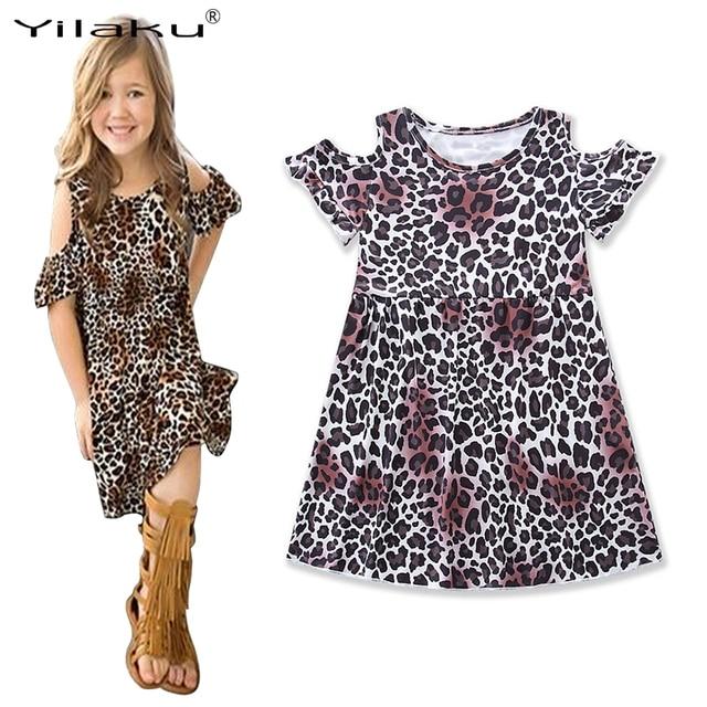 135b1ffe67dc Yilaku Girls Leopard Dresses Fashion Girls Clothing Baby Summer Vestido Girl  Children Constume Dresses Kids Party Dress CA467