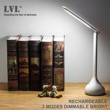 מנורת שולחן עם USB נטענת led ניתן לעמעום מנורת שולחן 18 נוריות בהירות גבוהה מיטת קריאת מנורות מגע 3 מצבי העין  טיפול מנורה