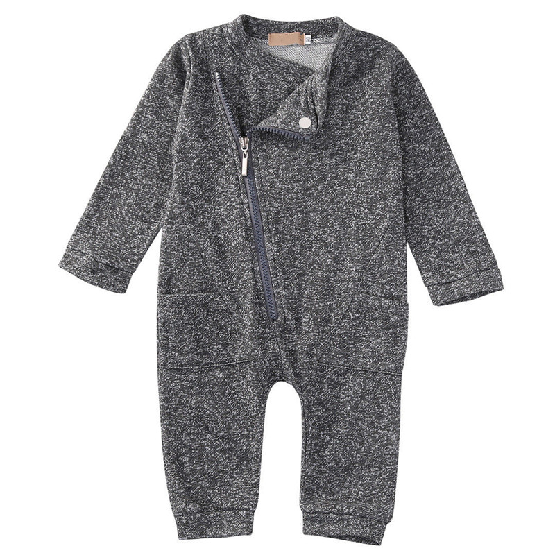Newborn Infant Baby Boys Girls Long Sleeve Zipper Up Gray Romper Jumpsuit Outfits CLothes Wholesale hurave infant clothing color stripes cotton knit long sleeve jumpsuit velvet baby romper new born baby boys and girls clothes