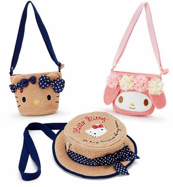 Fashion Summer Hello Kitty My Melody Straw Bag Girls Shoulder Messenger Bag  Cute Pink Flower Sling Crossbody Bags Backapck 786fa8bdcdcce