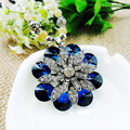 2014 New Blue Gem stone Pearl Necklace Silver Rhinestone Flower Pendants Necklaces,Fashion Vintage Necklace Sweater Chain