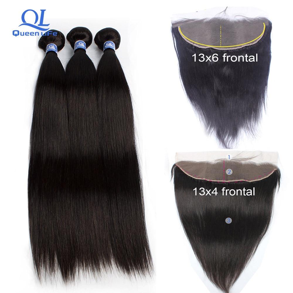 Queenlife 3 Bundles with Frontal Straight hair Bundles Remy Human hair Peruvian Hair Weaving 28 inch 30 inch 4 bundles