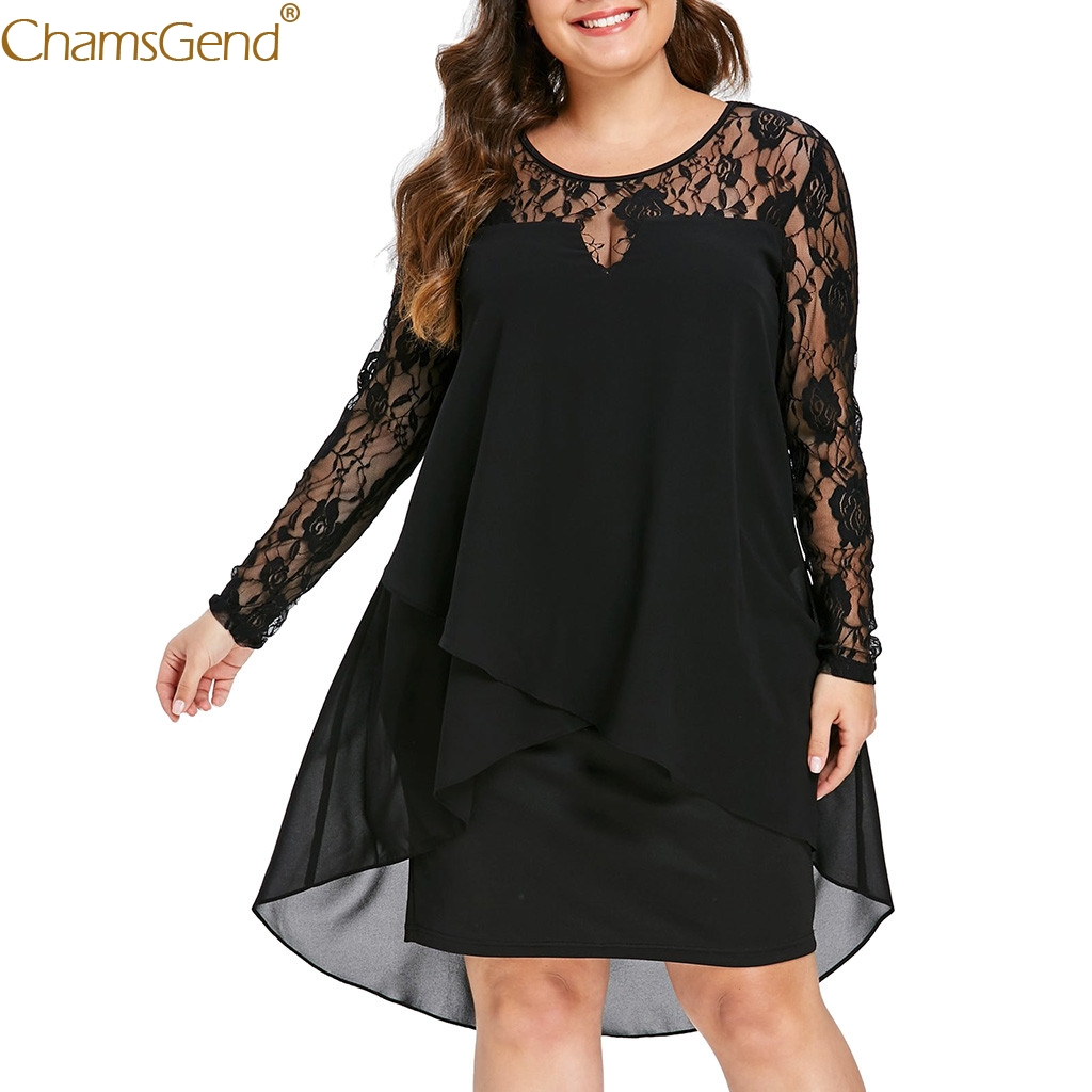 Casual Plus Size Sheer plus size dresses for women 4xl 5xl plus size dresses for women 2019 Lace Sleeve High Low Hem O-Neck Mar
