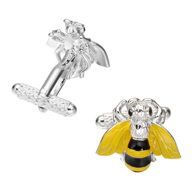Memolissa Jewelry Novelty Bee Shape Cufflinks High Mens Wedding Groom Shirt Dress Sleeve Cuff Links