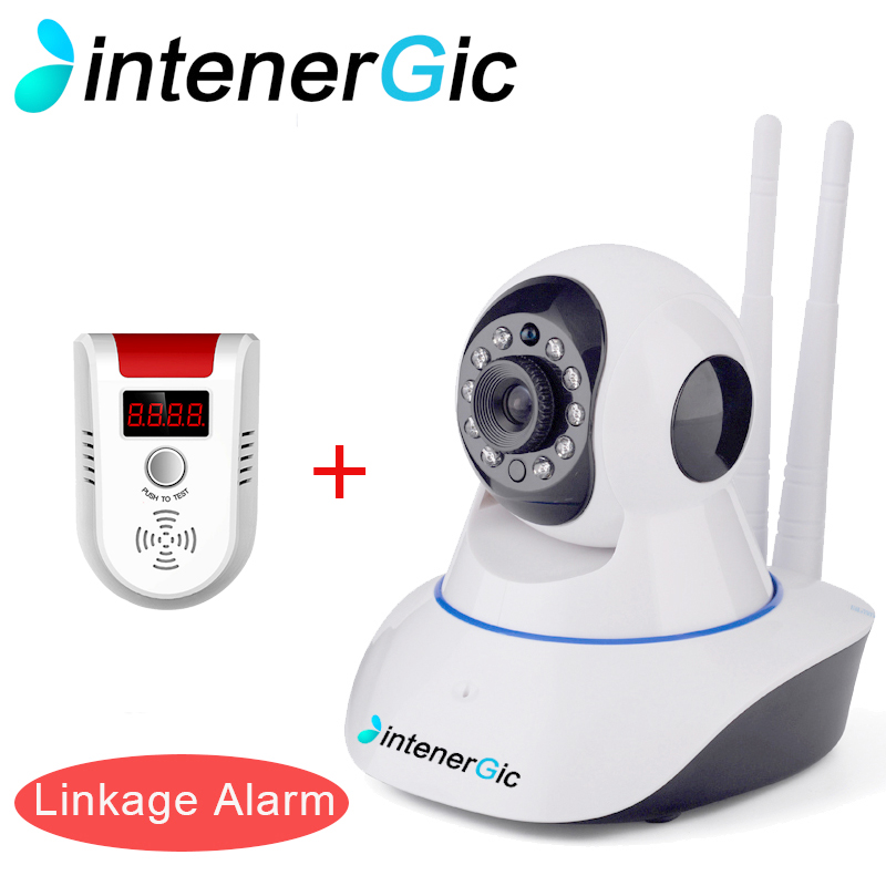 INTENERGIC 720P WiFi IP Camera P2P 2 Way Audio PTZ Motion Sensor 1.0MP Linkage Alarm Surveillance Camera And Gas Detector