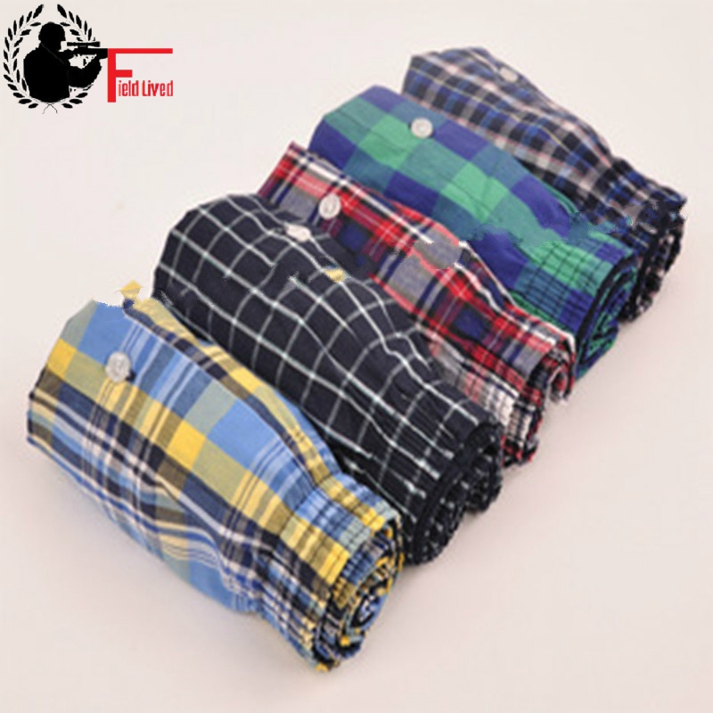 UNDERWEAR MEN 5pcs Lot Loose Shorts Men's Panties Cotton Boxer Male Plus Large Big Size Comfortable Soft Plaid Under Wear Sexy