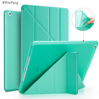 BYHeYang For IPad 9 7 2018 Case Smart Tpu Case PU Leather Flip Stand Magnetic Wake