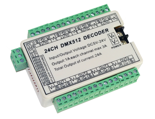 2016 High-quality 1 pcs 24CH dmx 512 led decoder controller Constant pressure common anode use for RGB led strip lamp lights 100 pcs ld 3361ag 3 digit 0 36 green 7 segment led display common cathode