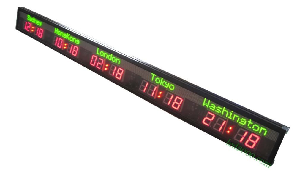 LED Wall Clock/Hotel time zone clock/5 cities world time clock,green city name,red time