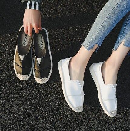 Chaussures Paresseux Printemps Coréenne 2018 Femelle Plat Blanc Pêcheur Nouveau Simples Harajuku Femme 2 1 Pédale Sauvage OqFdw4nTx