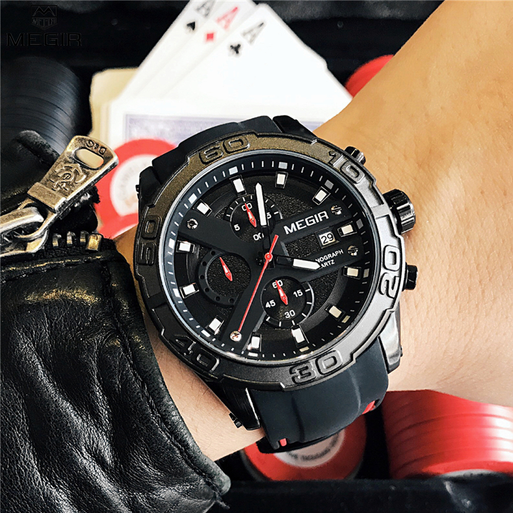Megir Chronograph Casual Men Watches Luxury Brand Quartz Military Sport Watch Black Silicone Strap Men's Wristwatch Male Clock megir watch luxury quartz men wristwatch stainless steel strap band hour time clock casual male man sport army military watches