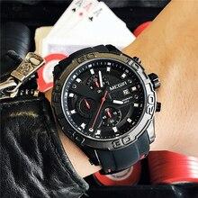 Megir Chronograph Casual Men Watches Luxury Brand Quartz Military Sport Watch Black Silicone Strap Men's Wristwatch Male Clock