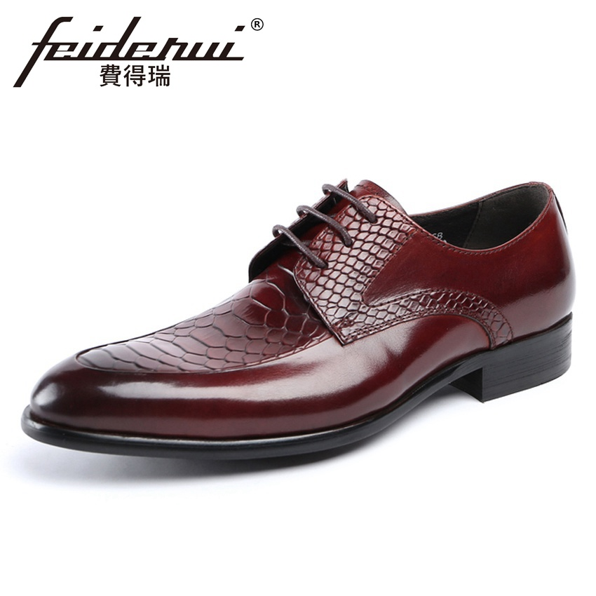 Luxury Brand Genuine Leather Alligator Handmade Mens Wedding Party Flats Round Toe Lace-up Derby Man Formal Dress Shoes YMX631Luxury Brand Genuine Leather Alligator Handmade Mens Wedding Party Flats Round Toe Lace-up Derby Man Formal Dress Shoes YMX631
