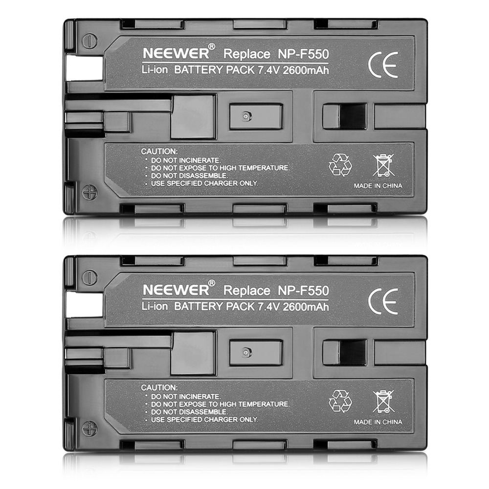 Neewer 2600mAh Sony NP-F550/570 Replacement Battery for Sony HandyCams and other LED On-Camera Video Lights Which Using NP-F550 ...
