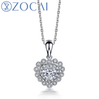ZOCAI STARRY SKY REAL 18K WHITE GOLD 0.30 CT CERTIFIED GENUINE DIAMOND HEART SHAPE PENDANT 925 SILVER CHAIN NECKLACE D04743