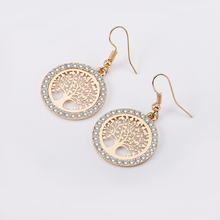 Gold Tree Of Life Drop Earrings Hollow Silver Black Color Tree Pattern Crystal Earrings For Women Fashion Jewelry Dropshipping цена 2017