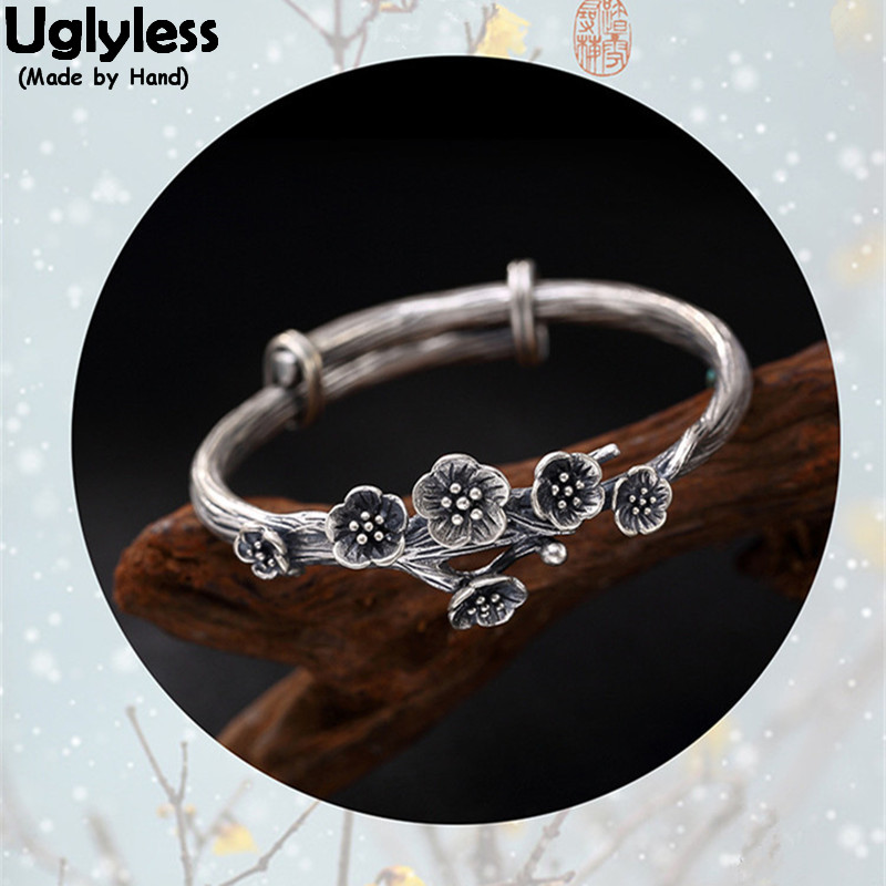 все цены на Uglyless Real 925 Sterling Silver Bangle Handmade brushed Floral Open Bangles Women Plum Blossom Fine Jewelry Thai Ethnic Bijoux